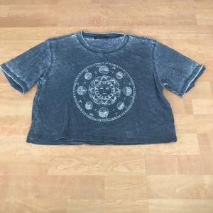 Brandy Melville Blue Zodiac Wash Crop Tee